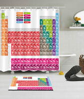 Periodic Table of Element Chemistry Fabric Shower Curtain /&Mat /&Hooks 60//72//79/""