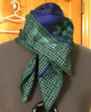 CHRISTIAN DIOR Signed Purple/Green Houndstooth-Paisley-Floral SILK SCARF! MINT!