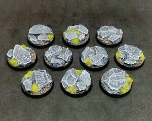 25mm resin bases x10 Rock Slate Stone Warhammer 40k Age of Sigmar (unpainted)