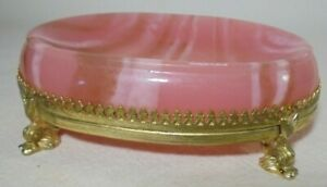 Vintage Plastic Soap Dish Set in Footed Gold Frame Pink sand White streaks