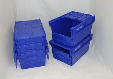 5 x Blue Multi-fold Lid Plastic Storage Removal Crate Container 54L