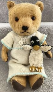 Antique Vintage Chiltern Golden Mohair Jointed Teddy Bear & Penguin British '40s