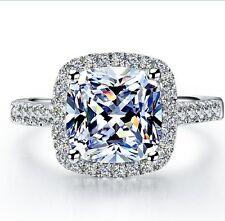GENUINE NSCD DIAMOND ENGAGEMENT RING 3 CARAT WHITE GOLD FINISH JEWELRY