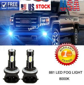 2x 100W 881 LED Fog Driving Light Bulbs for GMC Sierra 1500 99-2006 8000K