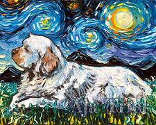 Clumber Spaniel Dog Wall Art Print Dog Starry Night Van Gogh Decor by Aja