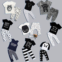 2pcs Newborn Infant Baby Boy Girls Clothes T-shirt Tops+Pants Overall Outfit Set