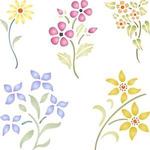 Floral Set Stencil Reusable Flowers Flora Plants Template Wall Fabric Furniture