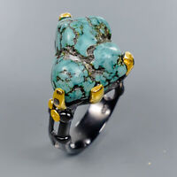Turquoise Ring Silver 925 Sterling Fine Art Jewelry Size 8 /R134446