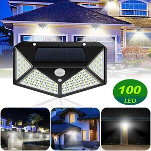 1/2/4X Solar Powered 100LED PIR Motion Sensor Security Garden Outdoor Wall Light