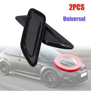 2× Car Air Flow Intake Hood Vent Trim Louver Panel Bonnet Cover Decor Kit Black