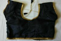 Black Polyester Silk Indian Blouse Choli Top  Dupion Saree Bollywood BellyDance