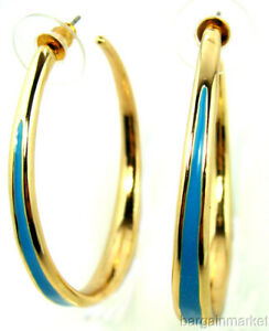 Turquoise Enamel Gold Trim Big Hoop Earrings Lead Nickel Free