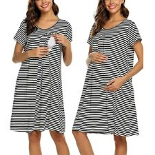 Women Maternity Short Sleeve Stripe Nursing Baby Nightdress Breastfeeding Dress