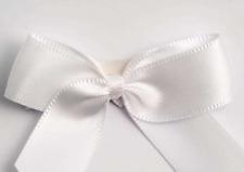 5cm Satin Bows - White Self Adhesive Pre Tied 16mm Ribbon Pack 12 FREE P&P