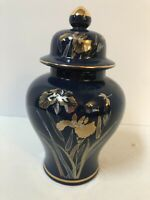 """Vintage Blue Iris Fine China Japan Cobalt Gold 8 1/4"""" Ginger Jar Urn Dragonfly"""