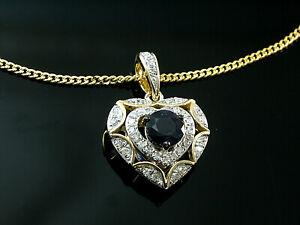 585 Goldkette mit Herz Diamant und Saphir Anhänger in Größe 16 mm x 11 mm