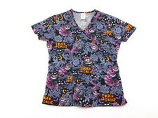 Disney Trick Or Treat Cheshire Cat Womens Black Scrub Top Shirt XS