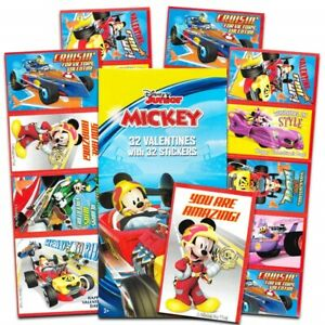 DISNEY JUNIOR MICKEY MOUSE Valentines Day Friendship Cards Box of 32 Cards NEW