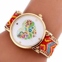 Women Love Heart Pattern Fashion Watch Knitting Large Dial Quartz Bracelet Watch