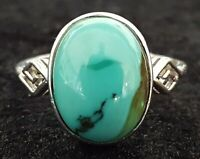 Sterling silver & turquoise stone vintage Art Deco antique ring - size O