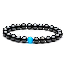 Latest Fashion Mens Natural Hematite 8mm Bead with Blue Feature Beaded Bracelet
