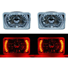 "4X6"" Red LED Halo Angel Eye Headlight Halogen Headlamp 55/60W Light Bulbs Pair"