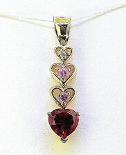 RUBY AND TOPAZ AND DIAMOND HEART PENDANT SOLID 10 k GOLD 1.4 g