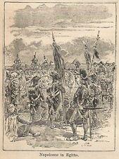 A9662 Napoleone in Egitto - Xilografia - Stampa Antica del 1906 - Engraving