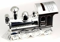 Personalised Engraved Silver Train Moneybox - Christening Gift - Free Delivery