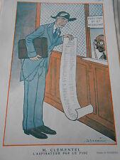 1924 Original Print M. Clémentel l'aspirateur par le fisc dessin de A. Barrere
