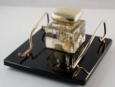 Elegante Pen Tray with Inkwell,Art Deco,Glass/Brass 6 5/16x6 5/16x3 7/8in (3Z2)