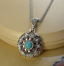 TURQUOISE metal snap button silver ornate pendant Necklace gift jewelry women