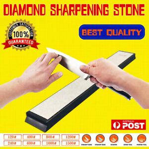 Pro Kitchen Knife Sharpener Sharpening Grit Stone Edge Diamond Whetstone Tool AU