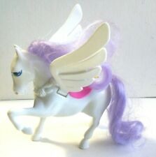 Vtg Toy Pegasus Little Pony Flying White Horse Purple Hair Movable Wings Saddle