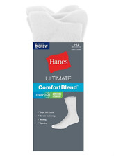 Hanes Cotton Rich Ultimate Crew Socks WHITE [6-Pack]