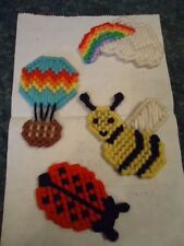 Rainbow in Cloud Bee Balloon Ladybug Needlepoint Refrigerator Magnets