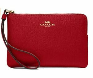 $78 Coach Wristlet F58032 Leather 1941 Red Gold Bag Holder Card ID Holder Purse