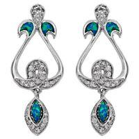 Australian Opal Inlay & Topaz 925 Solid Sterling Silver Earrings Jewelry, OP1