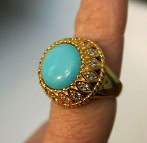 ROSS SIMONS 18K Gold over Sterling Turquoise and White Topaz? Ring Sz 7