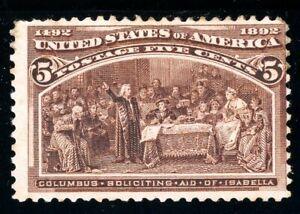 USAstamps Unused FVF US 1893 Columbian Expo Soliciting Aid Scott 234 OG MHR