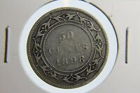 1898 Newfoundland 50 cent coin small W rare cracks low mintage NFLD 92.5% silver
