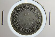 1898 Newfoundland 50 cent coin rare small W cracks low mintage NFLD 92.5% silver