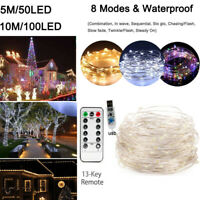 100 LED USB Copper Wire Fairy String Lights X'mas Tree Party Decor w/Remote 10M