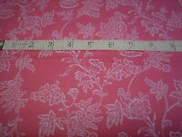 """Cotton Fabric Pink with White Viny Floral Pattern 2 Yards L x 44"""" W Sew Quilt"""