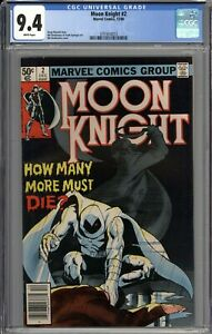 Moon Knight #2 CGC 9.4 NM Newsstand Variant WHITE PAGES