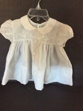 Vintage Alford Leon Blue Baby Girls Dress With Embroidery Hand Made Nylon