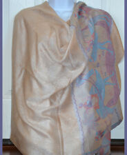 Floral Design Pashmina Silk blend Shawl,Stole,Wrap beige with Camel Ride Border