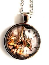 """Steampunk pic of a clock with dragon glass necklace 22"""" silver  tone gift #57"""