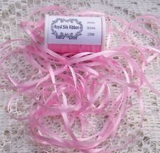 100% SILK EMBROIDERY RIBBON 2MM 25 YARD SPOOL  PINK COLOR