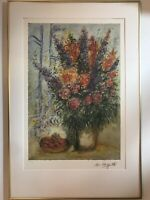 """Limited Edition Lithograph by Marc Chagall Entitled """"Bowl Of Cherries""""."""